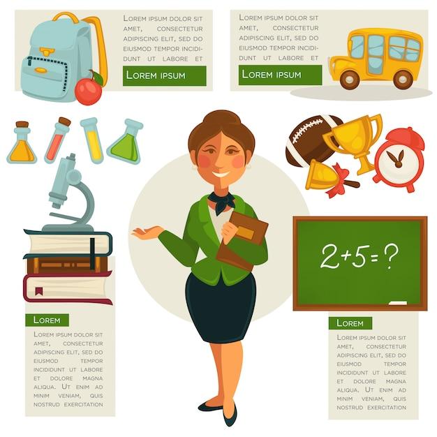 Set di icone di scuola. illustrazioni vettoriali Vettore Premium