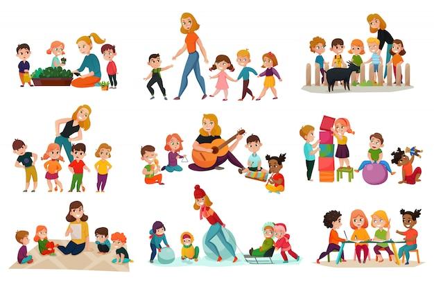 Set di icone di scuola materna Vettore gratuito