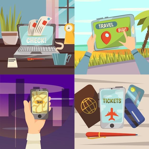 Set di icone di servizi di prenotazione online Vettore gratuito