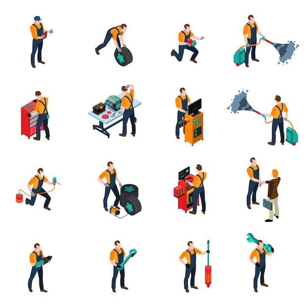 Set di icone di servizio auto Vettore gratuito
