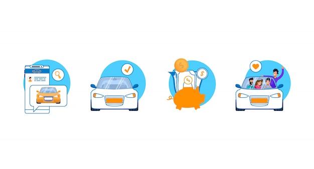 Set di icone di servizio auto. Vettore Premium
