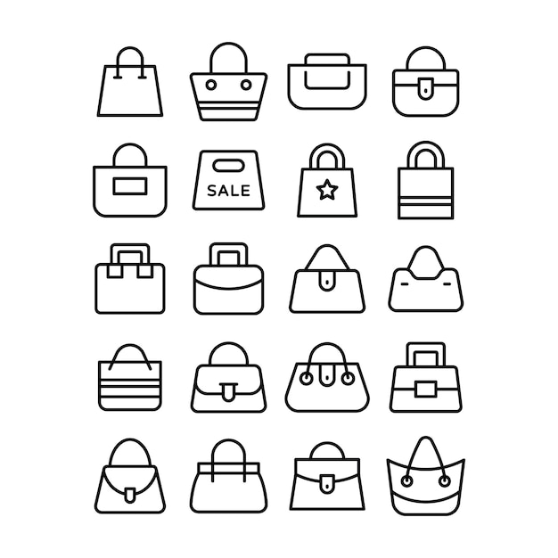 Set di icone di shopping bag Vettore Premium