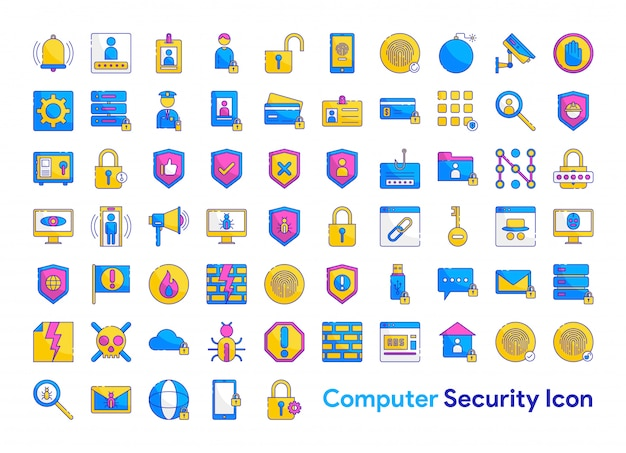 Set di icone di sicurezza informatica Vettore Premium