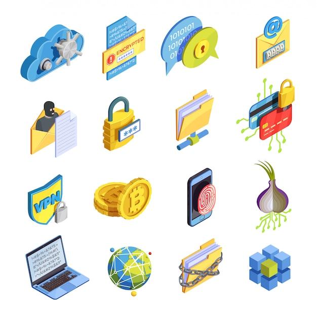 Set di icone di sicurezza internet Vettore gratuito