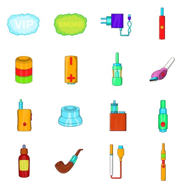 Set di icone di sigarette elettroniche Vettore Premium