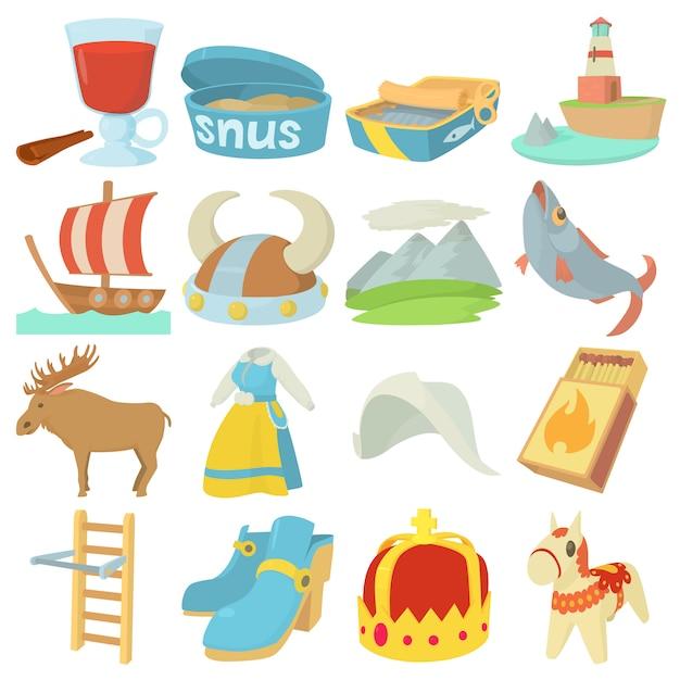 Set di icone di simboli di viaggio svezia Vettore Premium