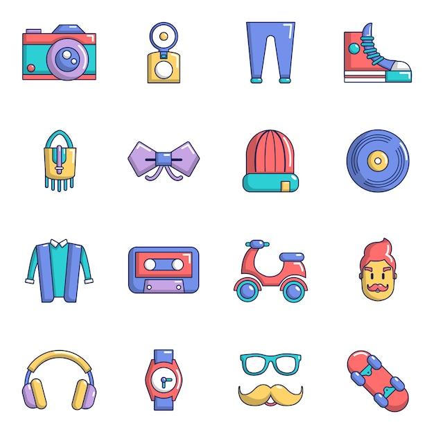 Set di icone di simboli hipster Vettore Premium