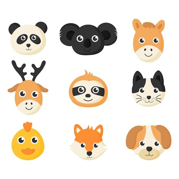 Set di icone di simpatici animali facce isolato su sfondo bianco. Vettore Premium