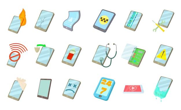 Set di icone di smartphone Vettore Premium