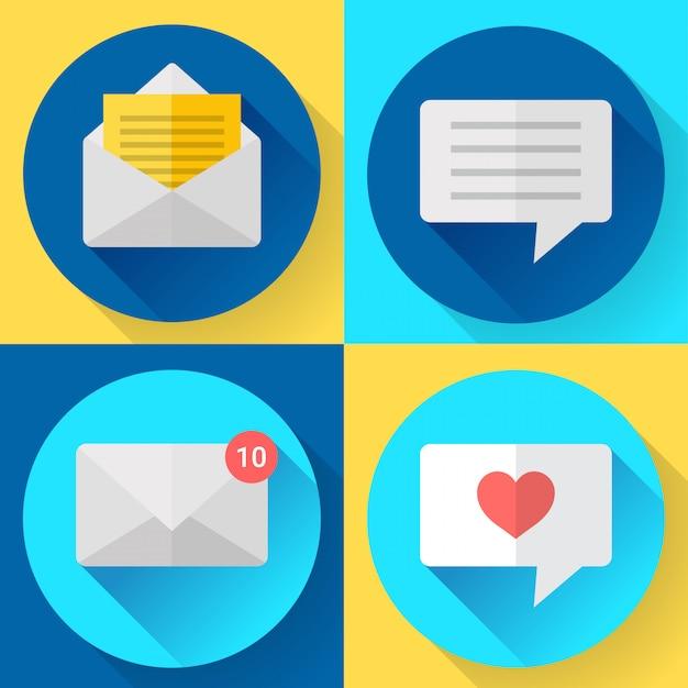 Set di icone di sms messaggio colore piatto Vettore Premium