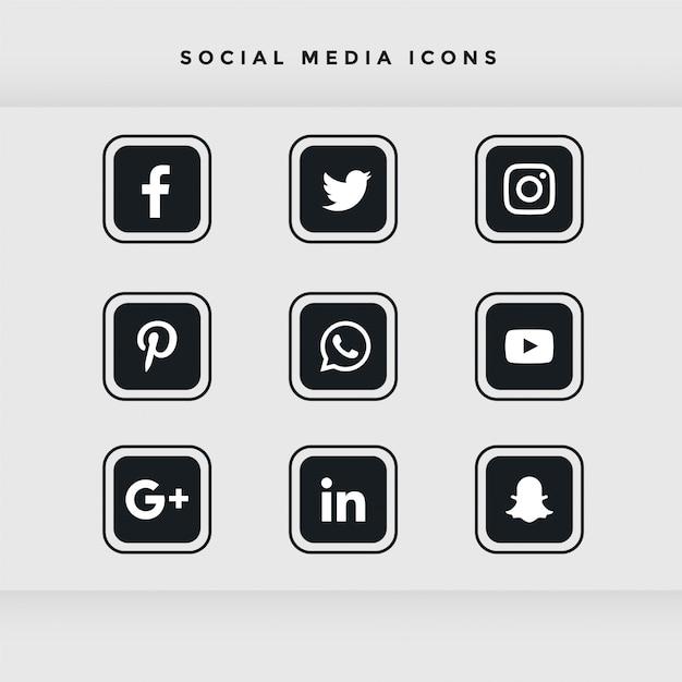 Set di icone di social media arrotondati nero Vettore gratuito