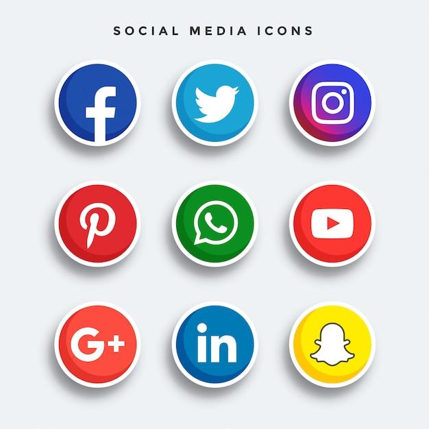 Set di icone di social media arrotondati Vettore Premium