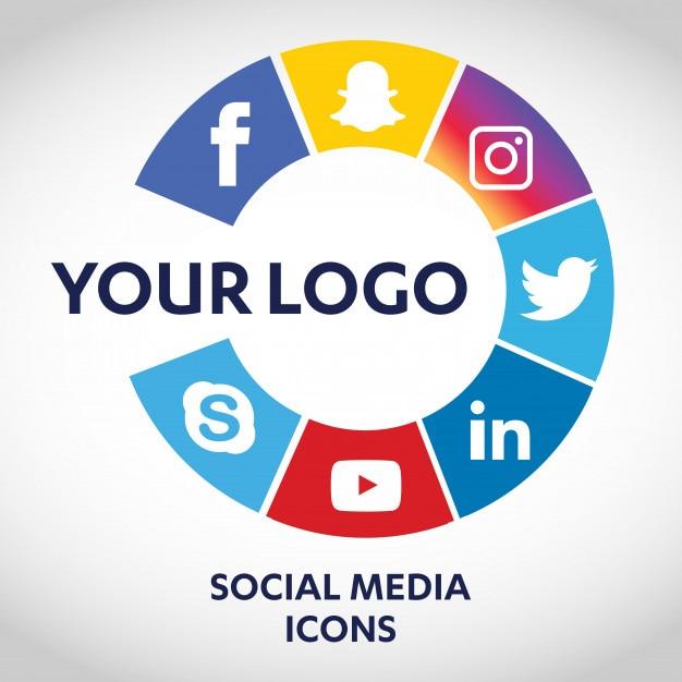Set di icone di social media più popolari, twitter, youtube, whatsapp, snapchat, facebook, instagram, loghi stampati su carta Vettore Premium