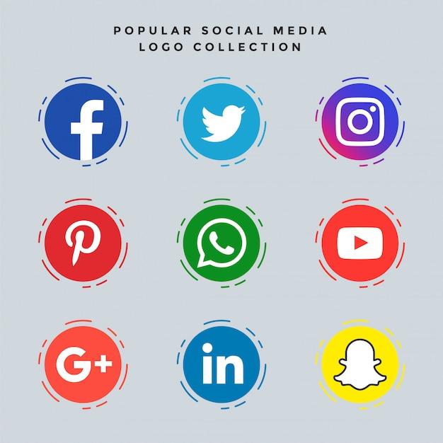 Set di icone di social media popolari Vettore gratuito