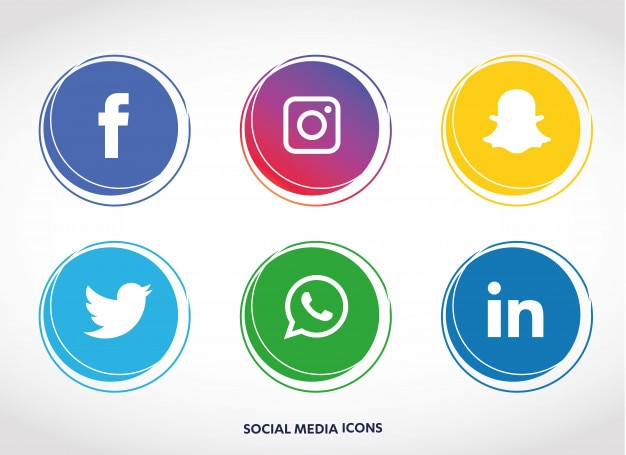 Set di icone di social media Vettore Premium
