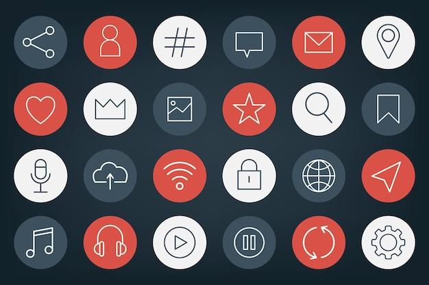 Set di icone di social media Vettore gratuito