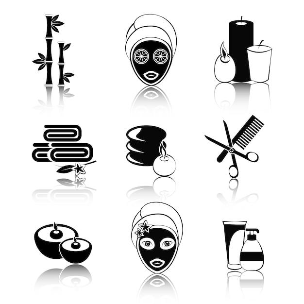 Set di icone di spa in bianco e nero Vettore Premium
