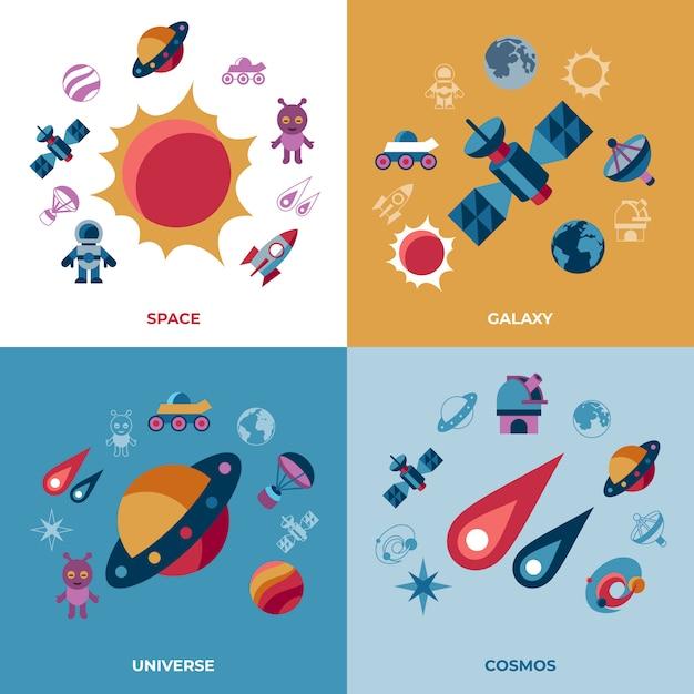 Set di icone di spazio galassia e universo Vettore Premium