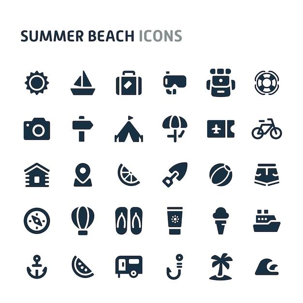 Set di icone di spiaggia estiva. fillio black icon series. Vettore Premium