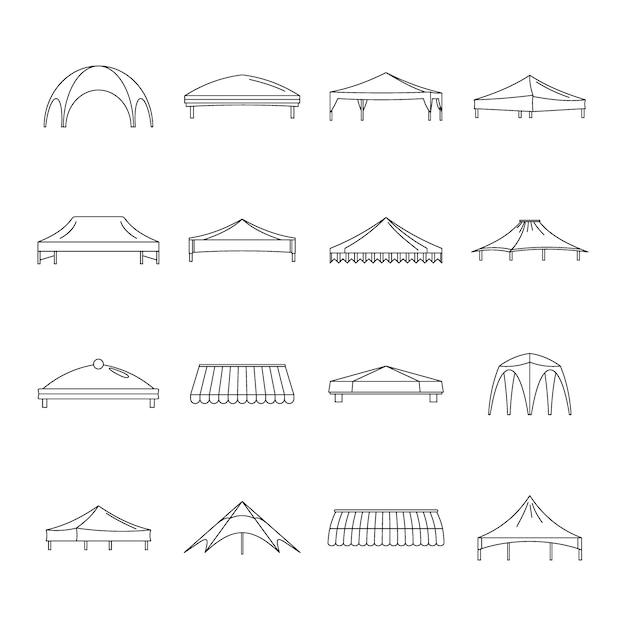 Set di icone di sporgenza capannone Vettore Premium