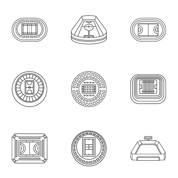 Set di icone di stadia, struttura di stile Vettore Premium