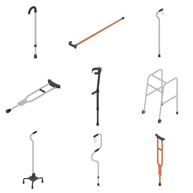 Set di icone di stampelle, stile isometrico Vettore Premium