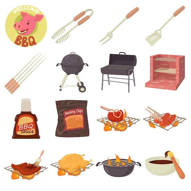 Set di icone di strumenti di barbecue Vettore Premium