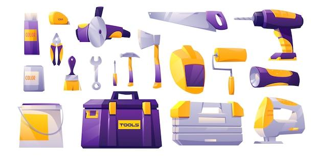 Set di icone di strumenti, strumenti di negozio di costruzione hardware Vettore gratuito