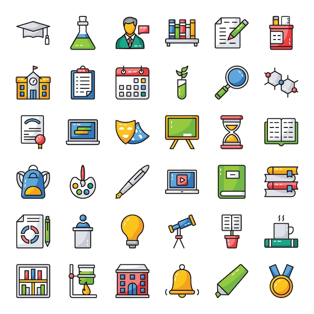Set di icone di studio e formazione Vettore Premium