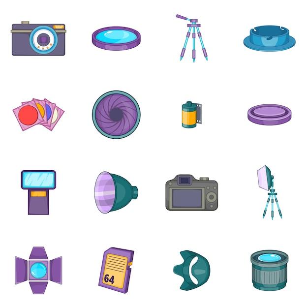 Set di icone di studio fotografico Vettore Premium