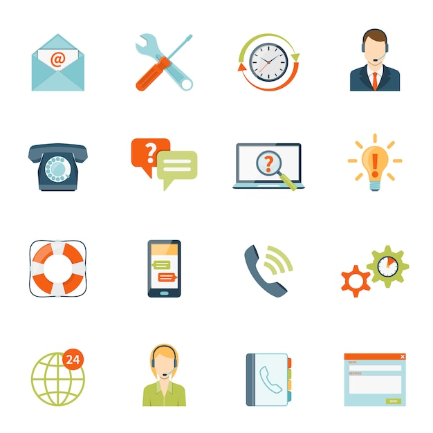 Set di icone di supporto clienti Vettore gratuito