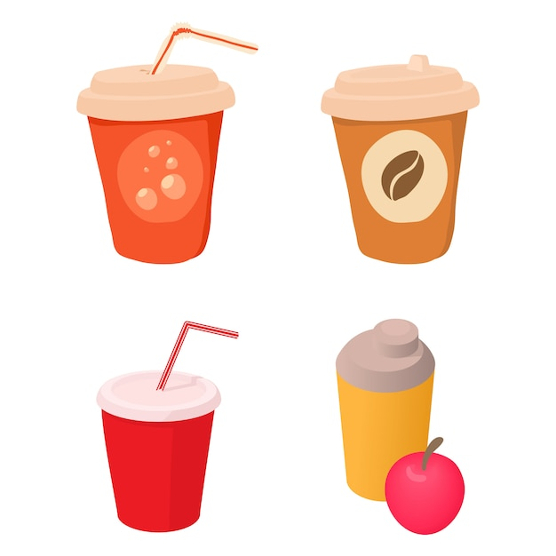Set di icone di tazza di plastica Vettore Premium