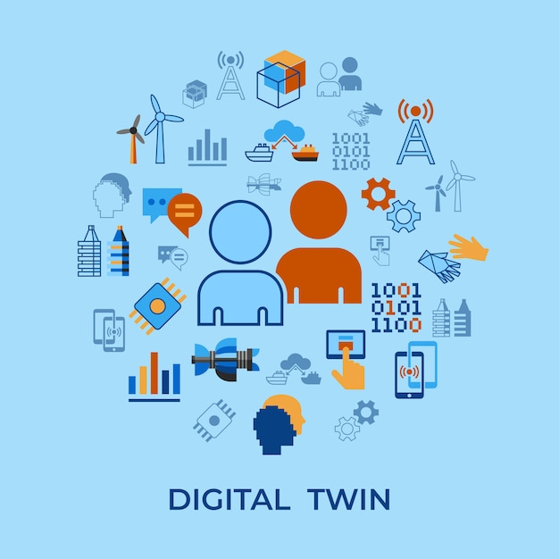 Set di icone di tecnologia assistente digitale tween Vettore Premium