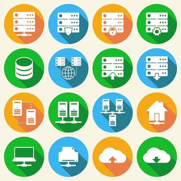 Set di icone di tecnologia di hosting Vettore Premium