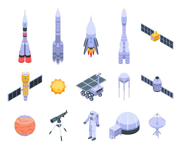 Set di icone di tecnologia di ricerca spaziale Vettore Premium