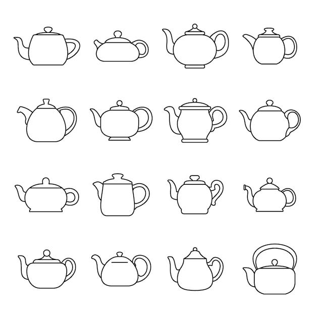 Set di icone di teiera bollitore Vettore Premium