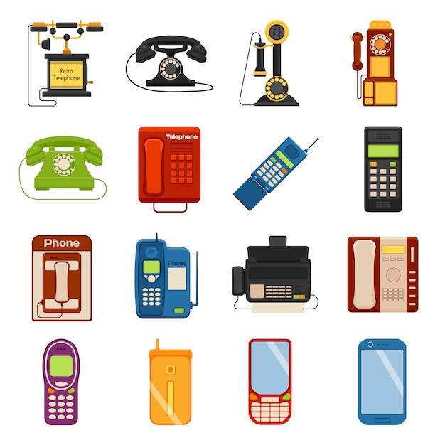 Set di icone di telefoni di chiamata e di telefoni aziendali Vettore Premium
