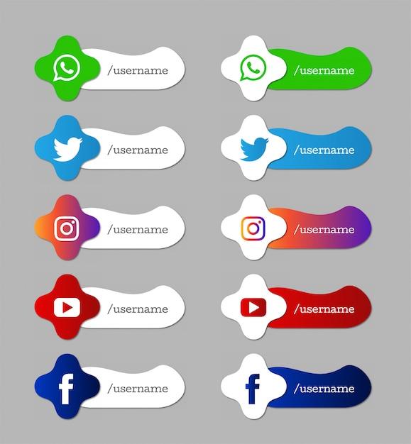 Set di icone di terzi inferiori moderni di social media Vettore gratuito