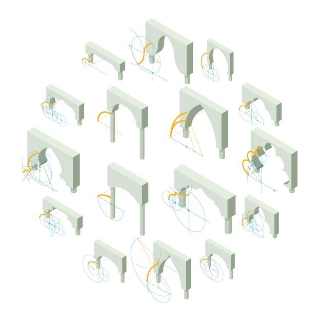 Set di icone di tipi di arco, stile isometrico Vettore Premium