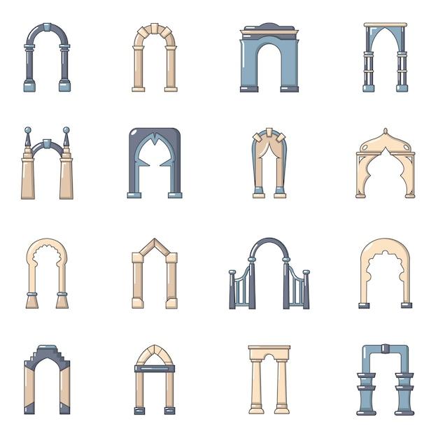 Set di icone di tipi di arco Vettore Premium