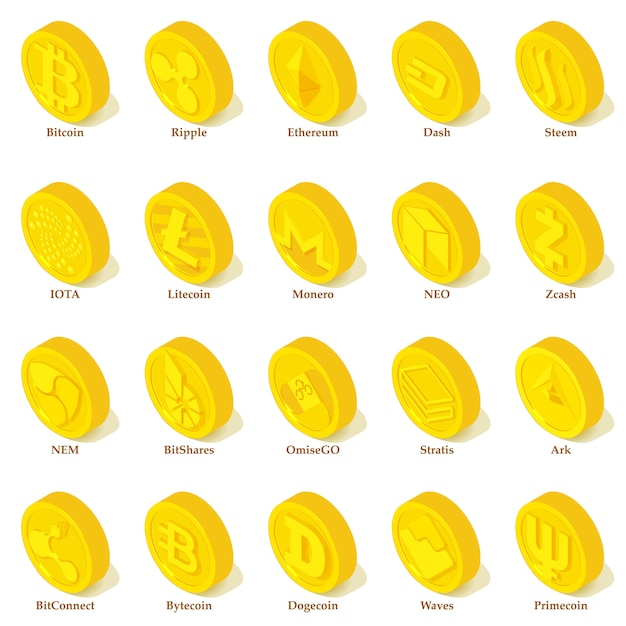 Set di icone di tipi di criptovaluta. l'illustrazione isometrica di 25 tipi di cryptocurrency vector le icone per il web Vettore Premium