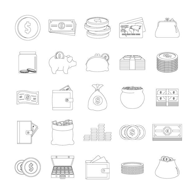 Set di icone di tipi di denaro Vettore Premium