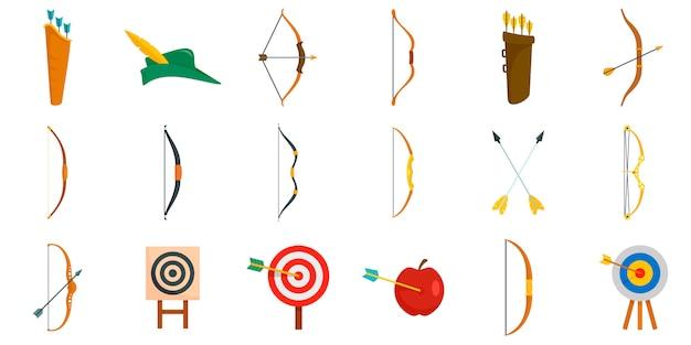 Set di icone di tiro con l'arco Vettore Premium