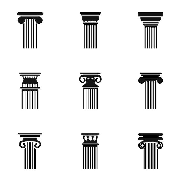 Set di icone di torre. semplice set di 9 icone torre Vettore Premium