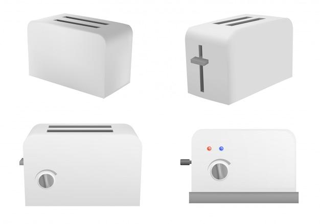 Set di icone di tostapane, stile realistico Vettore Premium