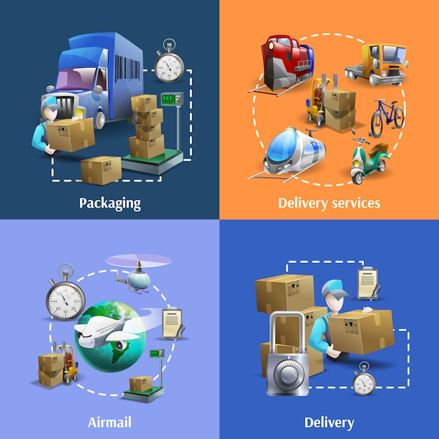 Set di icone di trasporto e consegna Vettore gratuito