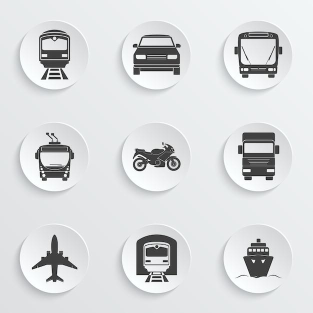 Set di icone di trasporto semplice. Vettore Premium
