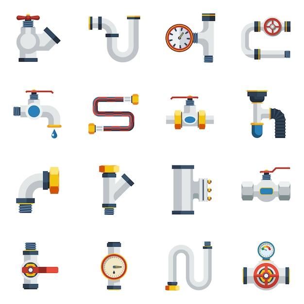Set di icone di tubi Vettore gratuito