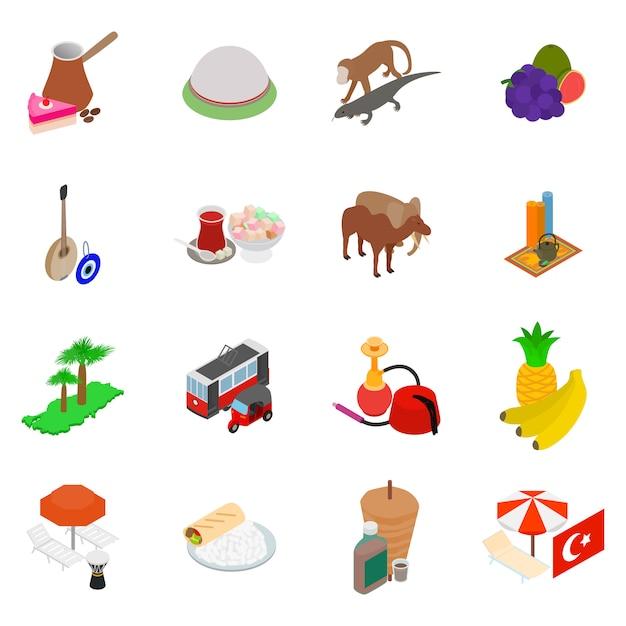 Set di icone di turchia Vettore Premium