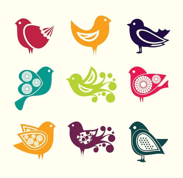 Set di icone di uccelli doodle dei cartoni animati Vettore Premium